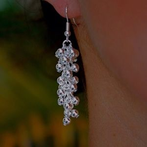 Silver Grapevine Dangle Earrings on French Hook